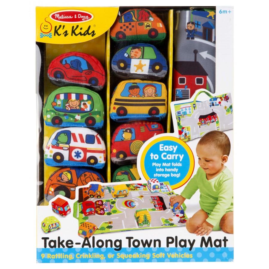 tapis de jeu portatif et petites voitures en tissu sac rangement melissa doug b b jouets. Black Bedroom Furniture Sets. Home Design Ideas