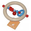 Wooden Baby Rattle - Blue and red Train