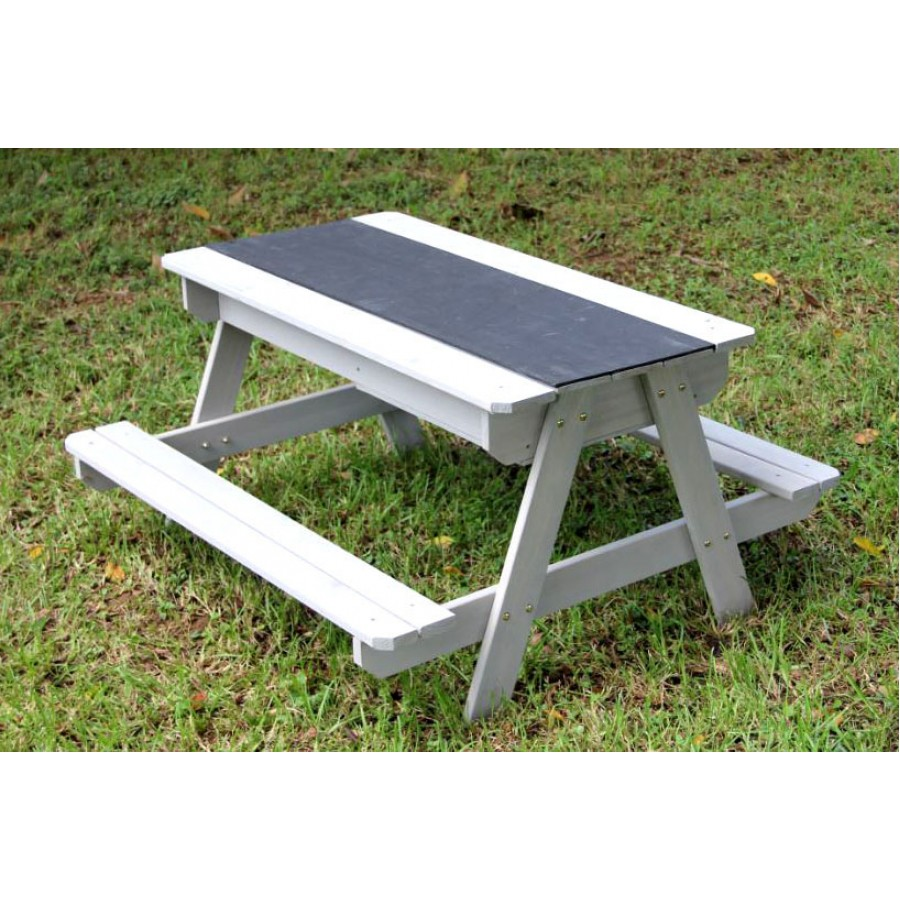 Table Bois Metal Exterieur chalkboard playtable, multi-functional: sandbox, chalkboard