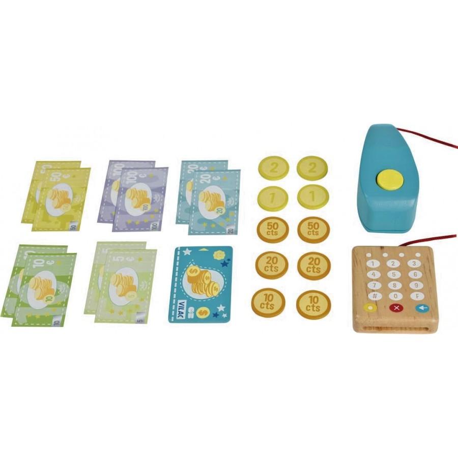 caisse enregistreuse bleu vilac jouet fait en bois enfants ducatif garderie cpe. Black Bedroom Furniture Sets. Home Design Ideas