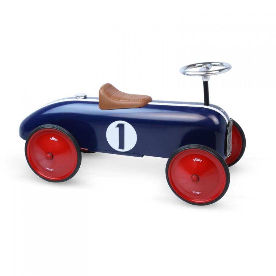 porteur bleu marin vintage en m tal petite voiture enfants b b s vilac trottinette. Black Bedroom Furniture Sets. Home Design Ideas